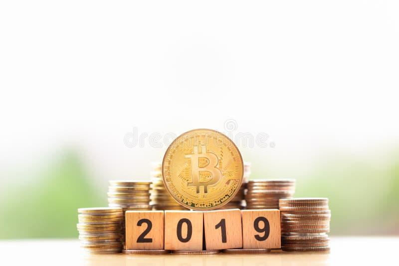 Ann?e d'or et en bois 2019 de BitcoinBTC de bloc de nombre sur le fond de nature de verdure photo libre de droits