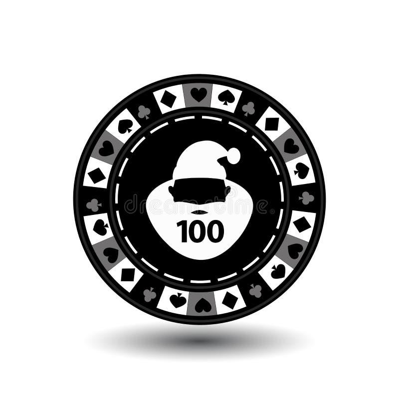Année de Noël de casino de tisonnier de puce nouvelle Illustration d'icône ENV 10 sur facile blanc de séparer le fond utilisation illustration de vecteur