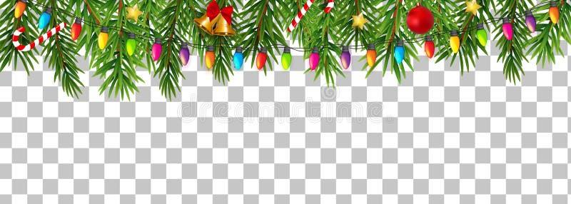 Année de vacances de résumé nouvelle et frontière de Joyeux Noël sur l'illustration transparente de vecteur de fond illustration stock