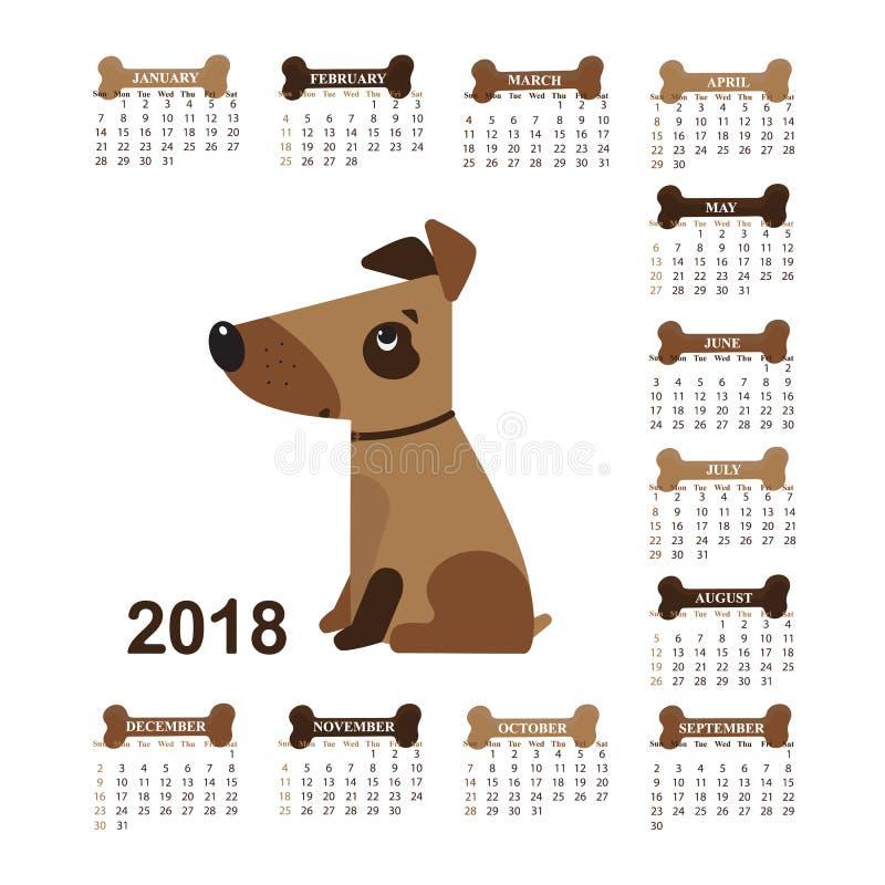 Année du chien Calendrier mural pour 2018 de dimanche à samedi illustration de vecteur