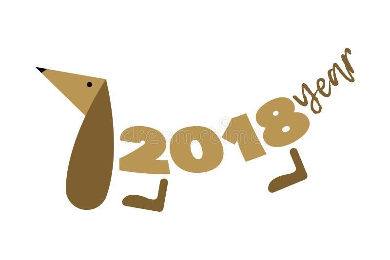 Année du chien 2018 Silhouettez un chien dachshund illustration de vecteur