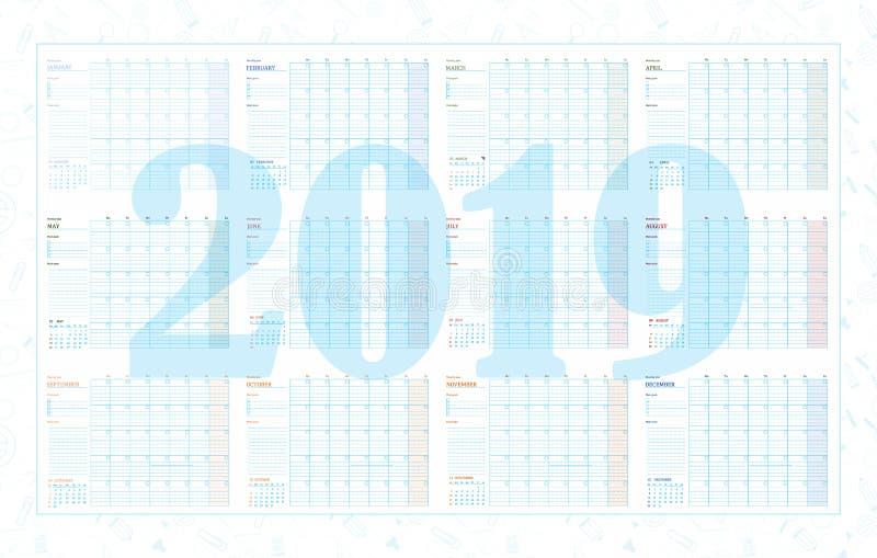 Année et mois de planificateur 2019 illustration de vecteur