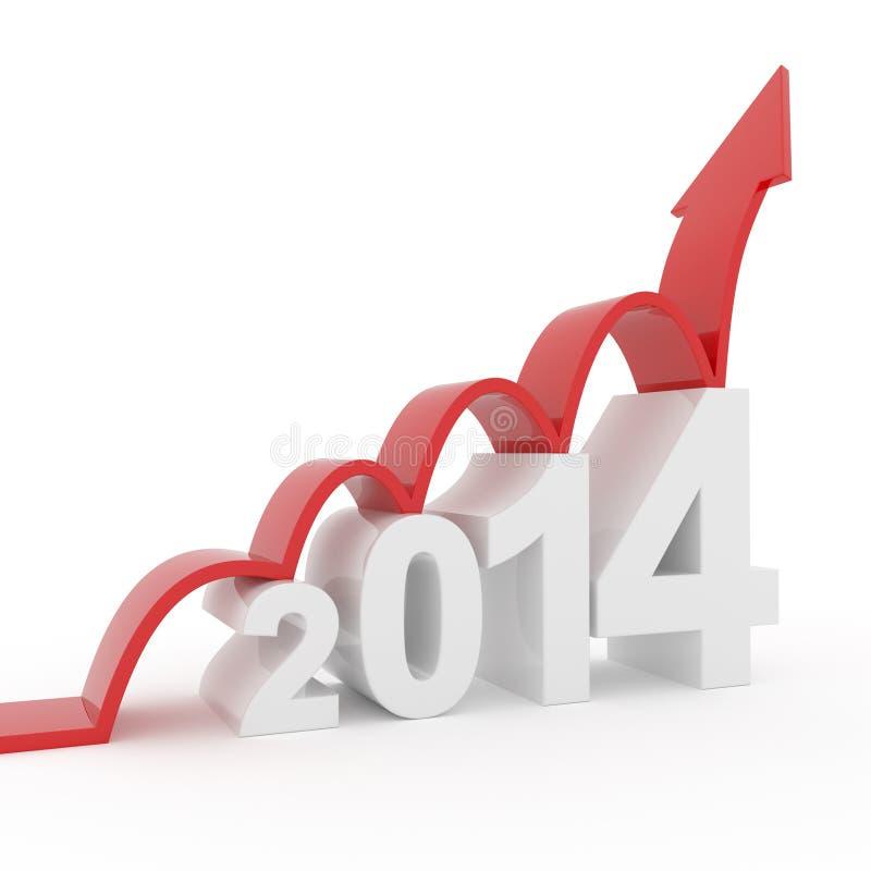 Année 2014 - la flèche rouge saute vers le haut illustration stock