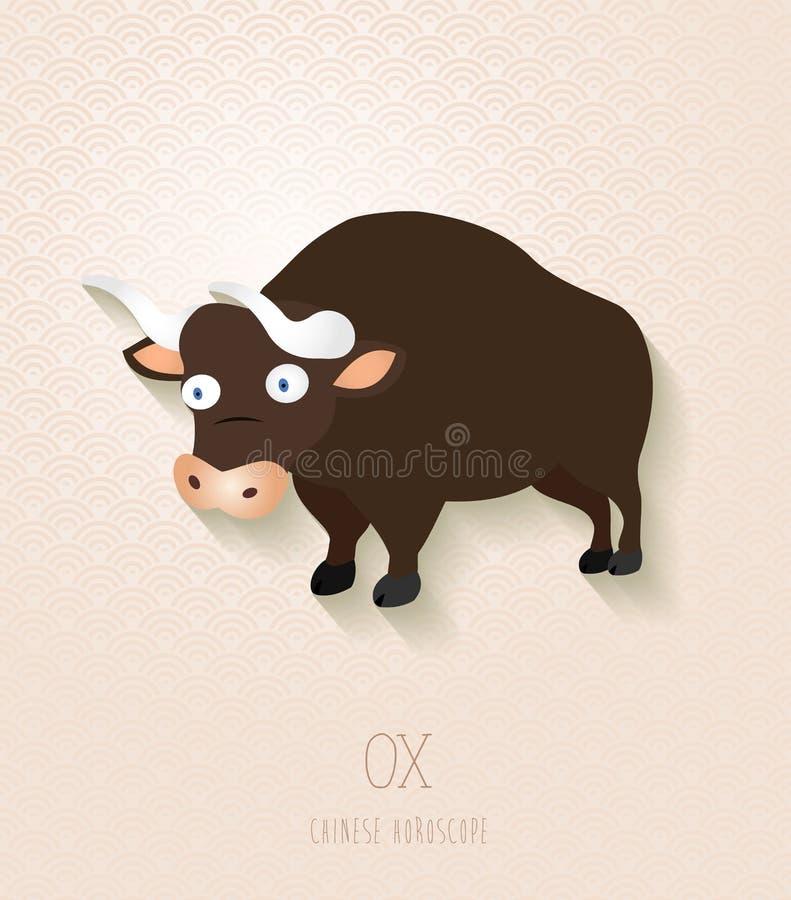 Année réglée de zodiaque chinois du boeuf illustration stock