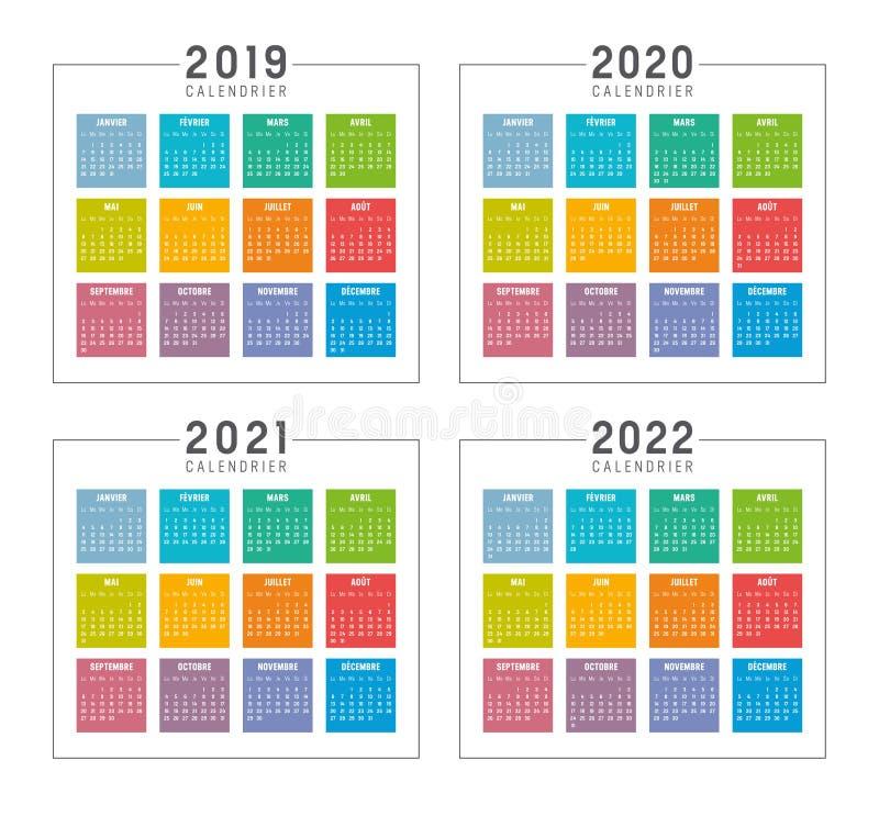Années 2019 2020 2021 2022 Calendriers Français Colorés