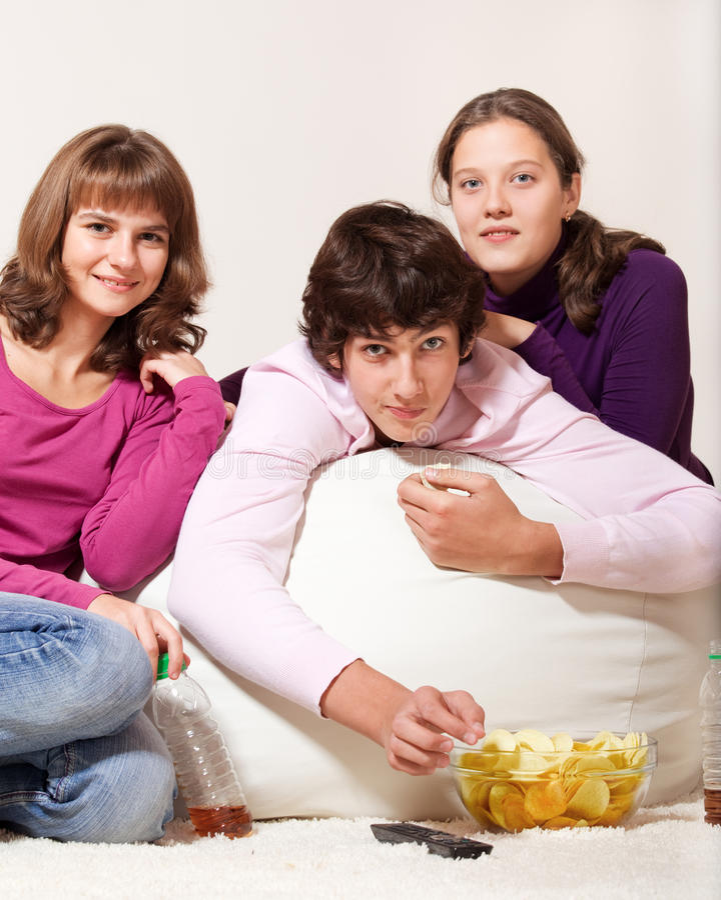 Années de l'adolescence amicales images stock