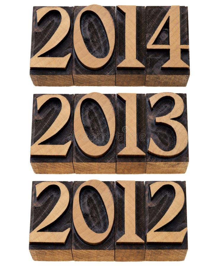 Années entrantes 2012, 2013, 2014 image libre de droits