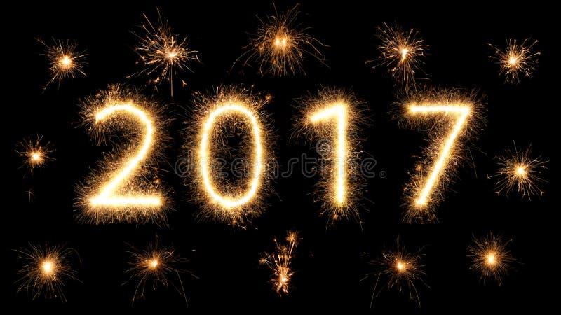 années 2017 rougeoyantes lumineuses de cierge magique de feu d'artifice nouvelles images libres de droits