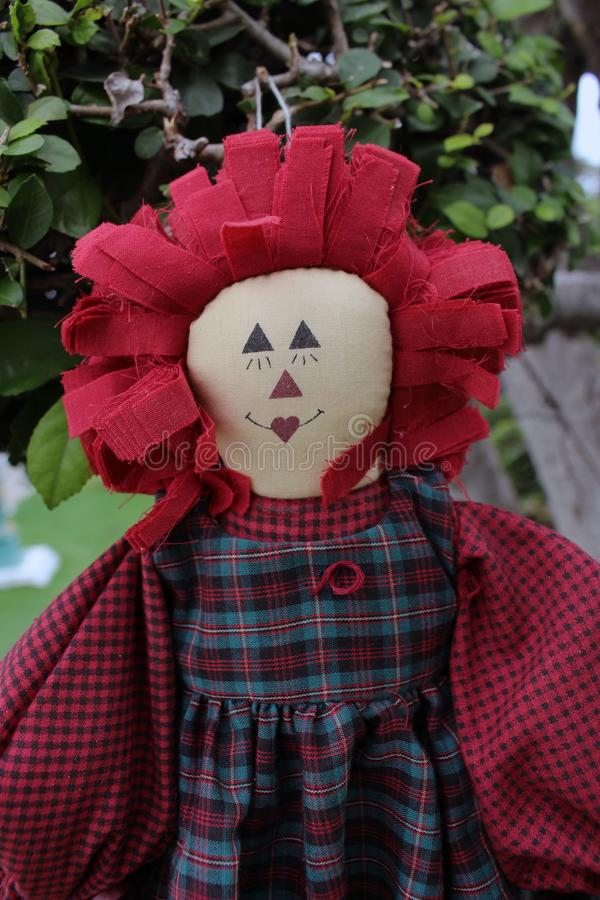 Ann Doll Ornament hanging on the Tree, Ghost mystic doll. Scary horror doll. Ann Doll Ornament hanging on the Tree, Ghost mystic doll. Scary horror doll royalty free stock images