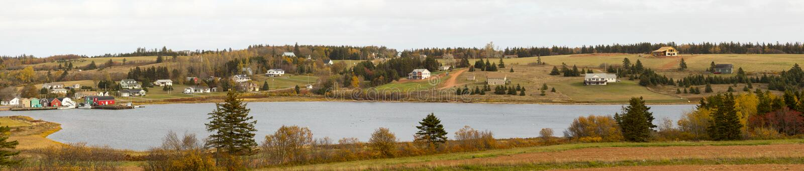 Ann of Green Gables Scenic Drive countryside, PEI, Canada. Houses on hills along Ann of Green Gables Scenic Drive on Prince Edward Island, Canada on fall day stock photo