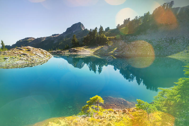Ann lake. And mt. Shuksan, Washington royalty free stock image