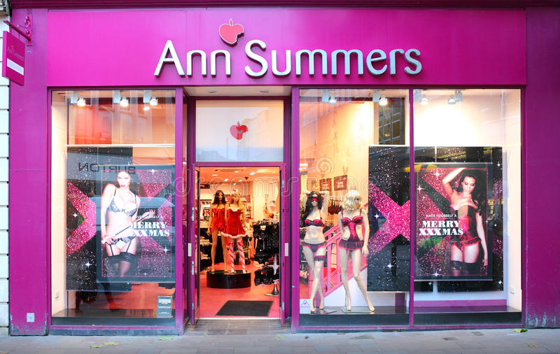 Ann Summers shop front. Ann Summers store front, a British multinational retailer company specialising in lingerie, with over 140 high street stores in the UK stock photography
