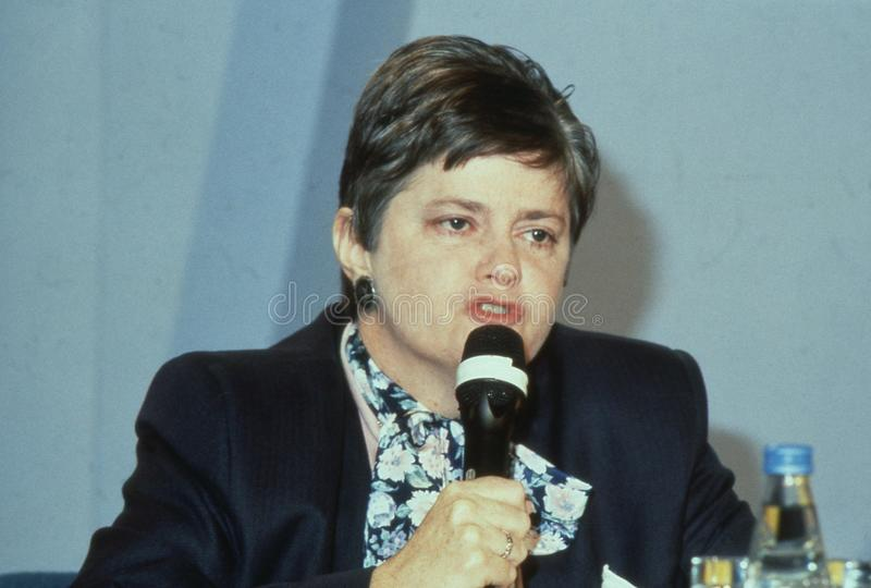 Ann Widdecombe. Parliamentary Under Secretary of State for Social Security and Conservative M.P. for Maidstone, speaks at a conference in London, England on stock photos