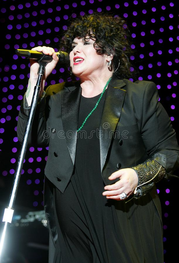 Heart performs in concert. Ann Wilson with Heart performs in concert at the Cruzan Amphitheater in West Palm Beach, Florida on June 15, 2011 royalty free stock images