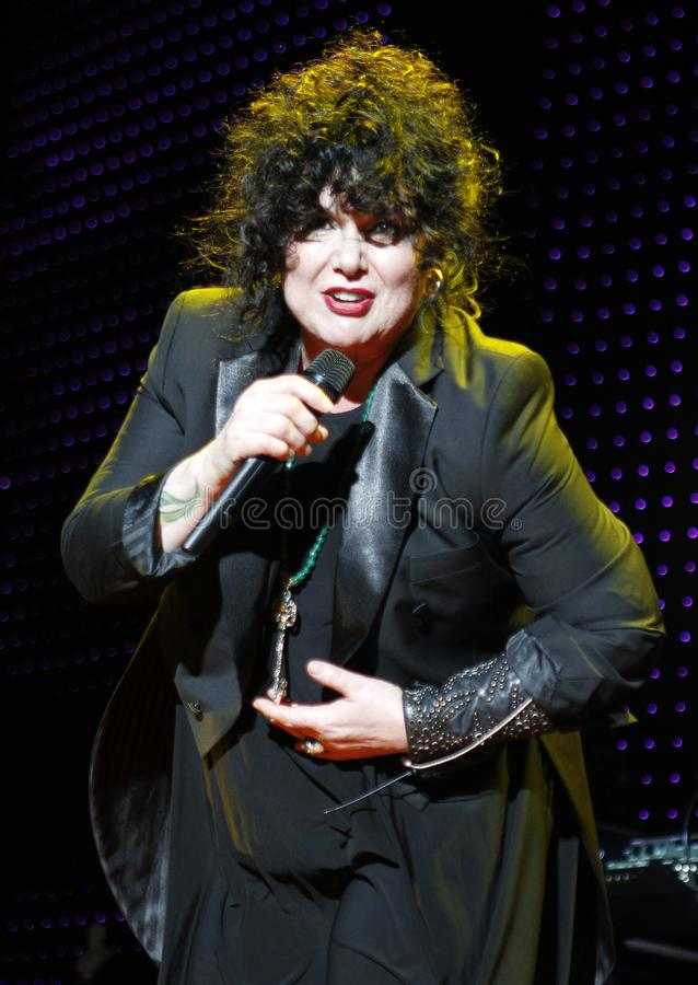 Heart performs in concert. Ann Wilson with Heart performs in concert at the Cruzan Amphitheater in West Palm Beach, Florida on June 15, 2011 royalty free stock photo