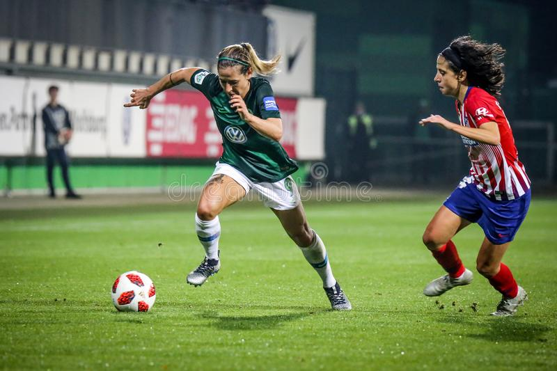 Anna Blasse in action during a soccer match against Atletico de Madrid. stock image