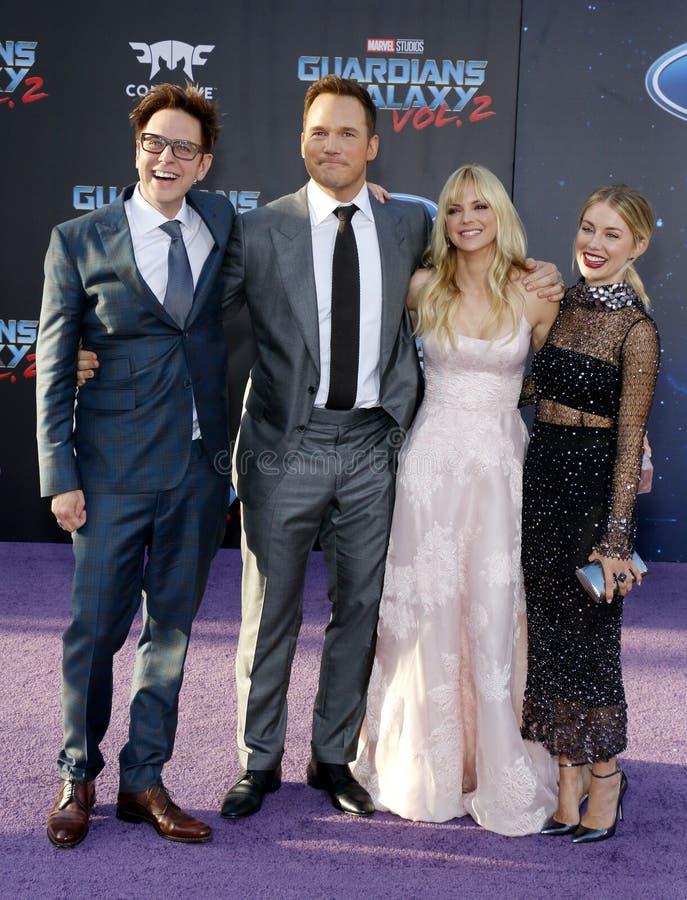 Anna Faris, James Gunn, Chris Pratt en Jennifer Holland stock foto