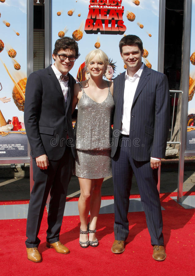 Anna Faris, Phil Lord and Christopher Miller. Chris Miller and Anna Faris at the Los Angeles Premiere of `Cloudy With A Chance Of Meatballs` held at the Mann royalty free stock images