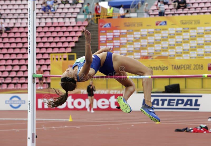 ANNA HALL de V.S., Amerikaanse spoor en gebiedsatleet op heptathlongebeurtenis in de IAAF-Wereld U20 royalty-vrije stock foto's
