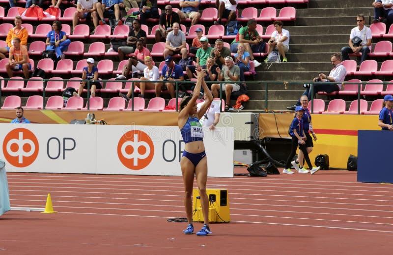 ANNA HALL de V.S., Amerikaanse spoor en gebiedsatleet op heptathlongebeurtenis in de IAAF-Wereld U20 stock afbeeldingen