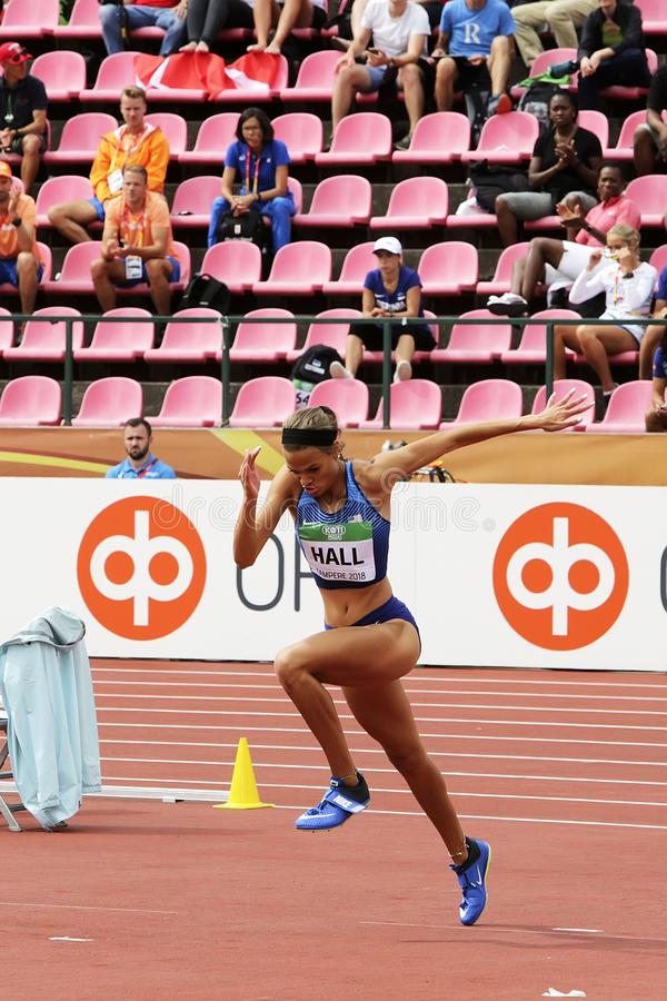 ANNA HALL de V.S., Amerikaanse spoor en gebiedsatleet op heptathlongebeurtenis in de IAAF-Wereld U20 stock foto