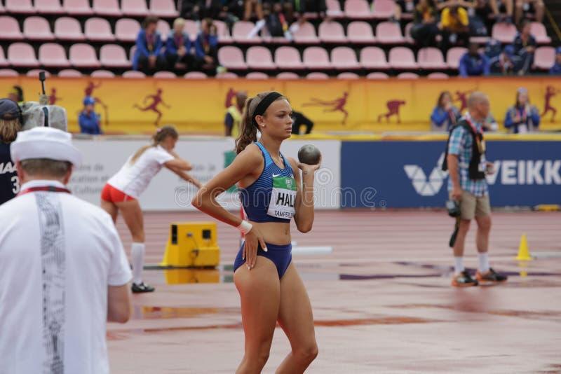 ANNA HALL de V.S., Amerikaanse spoor en gebiedsatleet op heptathlongebeurtenis in de IAAF-Wereld U20 stock afbeelding
