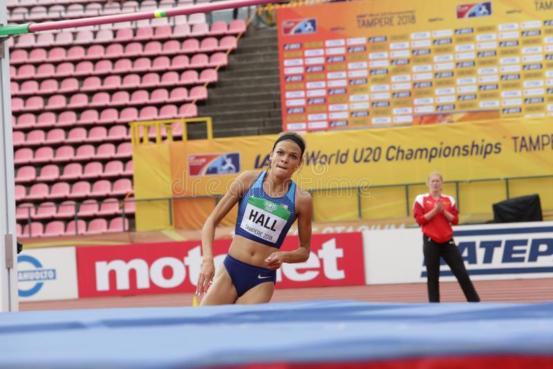 ANNA HALL Etats-Unis, athl?te am?ricain sur l'?v?nement de heptathlon dans le monde U20 d'IAAF photos libres de droits