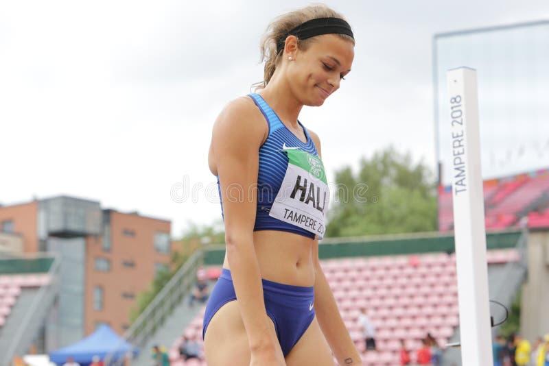 ANNA HALL U.S.A., atleta americano di atletica sull'evento di heptathlon nel mondo U20 di IAAF immagini stock libere da diritti