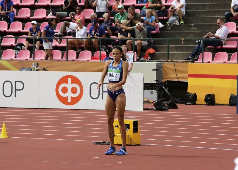 ANNA HALL USA, amerikansk friidrottidrottsman nen p? heptathlonh?ndelse i IAAF-v?rlden U20 arkivfoto