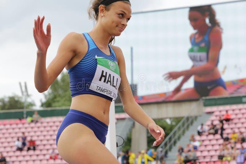 ANNA HALL USA, amerikansk friidrottidrottsman nen p? heptathlonh?ndelse i IAAF-v?rlden U20 royaltyfri foto