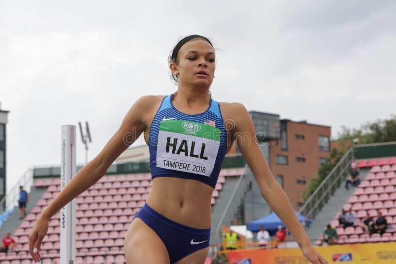 ANNA HALL USA, amerikansk friidrottidrottsman nen p? heptathlonh?ndelse i IAAF-v?rlden U20 royaltyfri fotografi