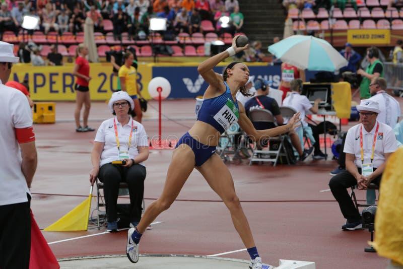 ANNA HALL USA, amerikansk friidrottidrottsman nen p? heptathlonh?ndelse i IAAF-v?rlden U20 arkivfoton