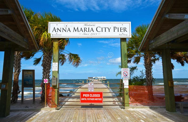 Anna Maria City Pier Closed royalty-vrije stock foto