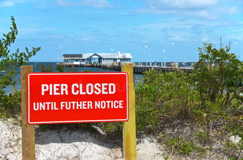 Anna Maria City Pier Closed stock fotografie