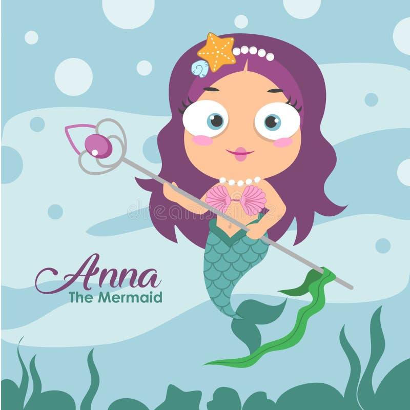 Anna a sereia ilustração royalty free