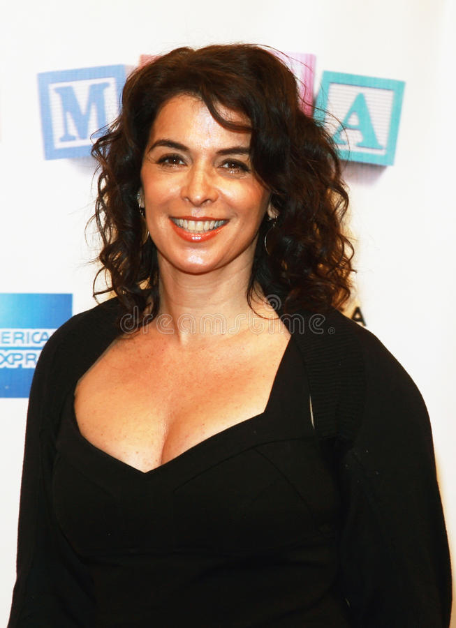 Annabella Sciorra. Actress Annabella Sciorra arrives on the red carpet for the premiere of Baby Mama, kicking off the 7th Annual Tribeca Film Festival at the royalty free stock photography