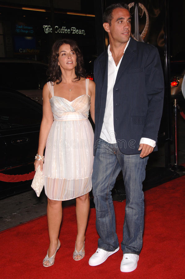 Annabella Sciorra,Bobby Cannavale. Actress ANNABELLA SCIORRA & actor BOBBY CANNAVALE at the Los Angeles premiere of his new movie Snakes on a Plane at the royalty free stock image