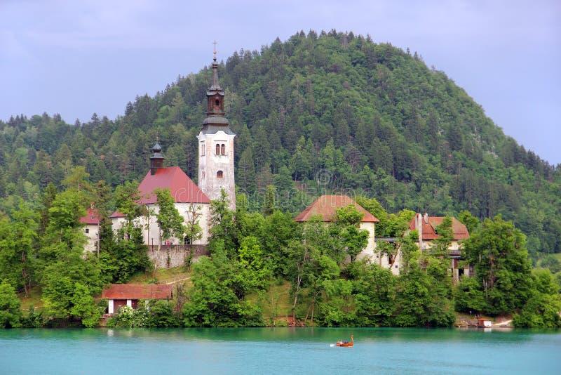 Annahme von Mary Pilgrimage Church auf Bled See stockfotos