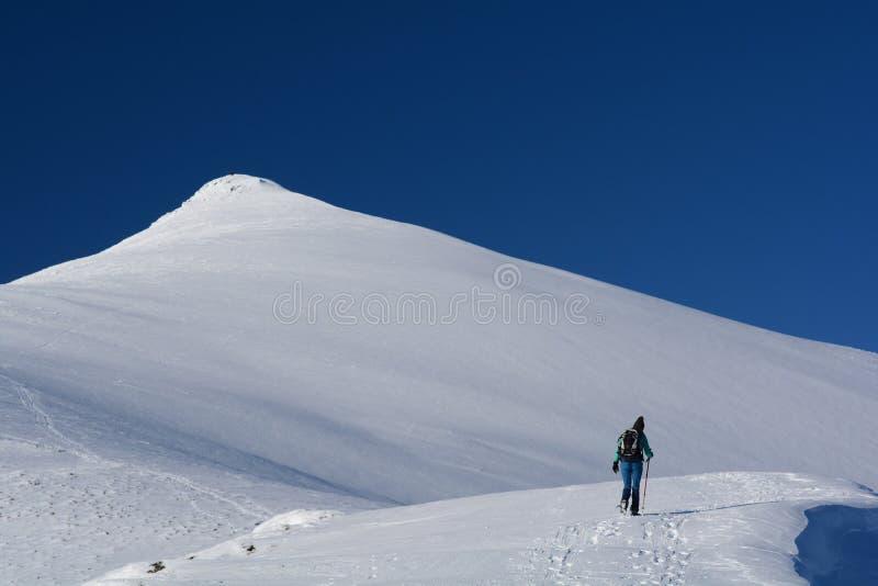 Annalkande bergöverkant för fotvandrare i snö royaltyfri fotografi