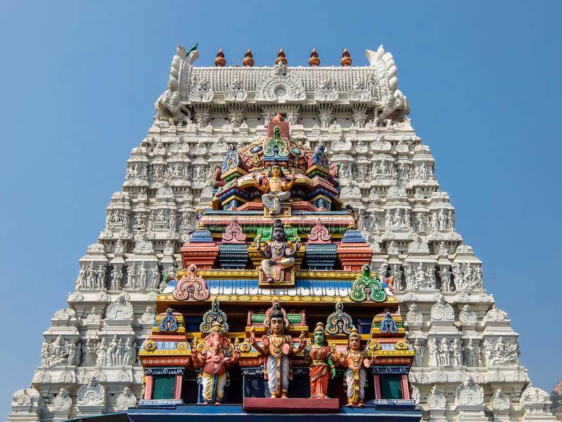 Annamalaiyar寺庙建筑学在Tiruvannamalai,印度 免版税库存图片