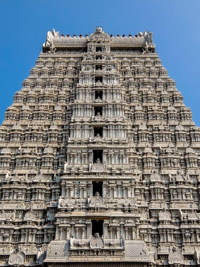Annamalaiyar寺庙建筑学在Tiruvannamalai,印度 库存图片