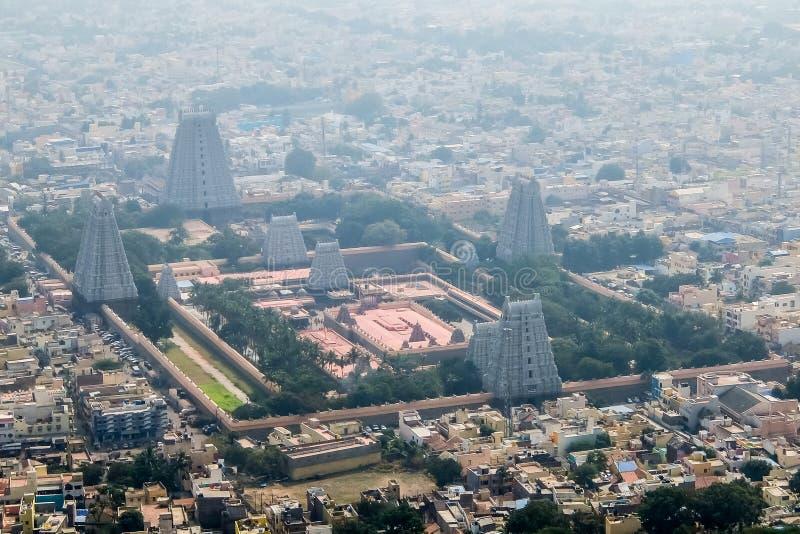 Annamalaiyar寺庙看法在Tiruvannamalai,印度 免版税库存照片
