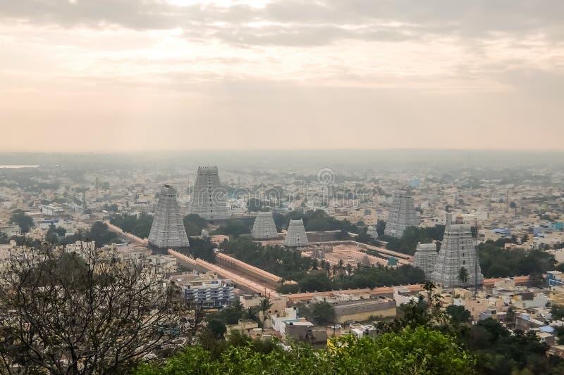 Annamalaiyar寺庙, Tiruvannamalai,印度看法  免版税图库摄影