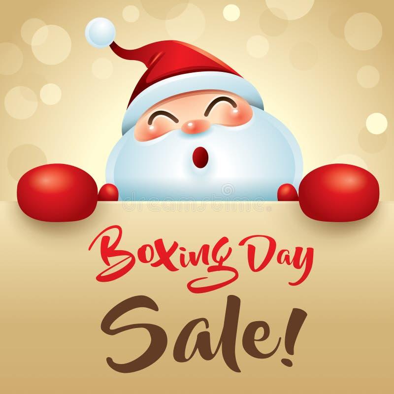 Annandag Sale! Santa Claus med den röda boxninghandsken royaltyfri illustrationer