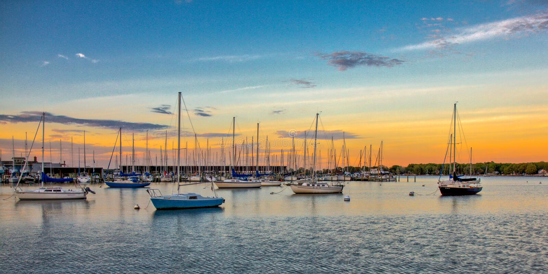 Annapolis hamnsolnedgång royaltyfria bilder