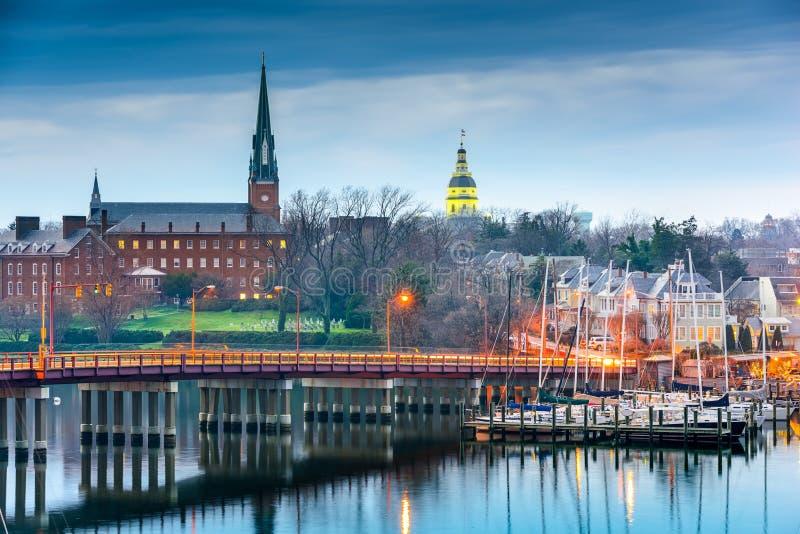 Annapolis Maryland på Chesapeakefjärden arkivbilder