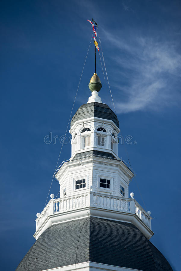 Annapolis Maryland white dome historical house stock image