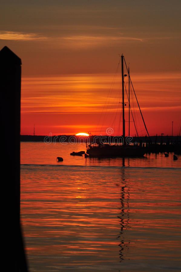 Annapolis-Sonnenaufgang am Stadt-Dock stockfotografie