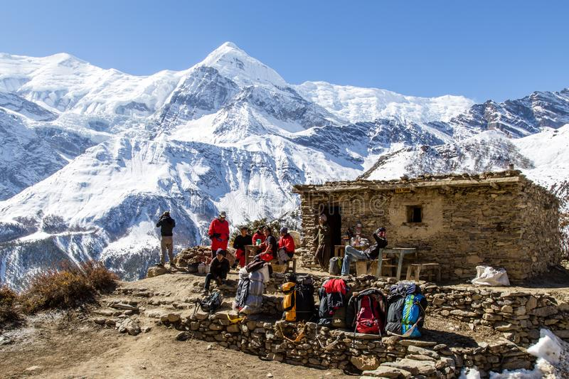 Hiking on the Annapurna Circuit in Nepal stock photos