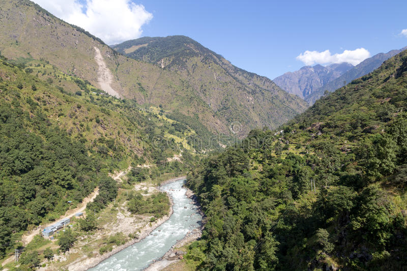 Annapurna Circuit green landscape royalty free stock images